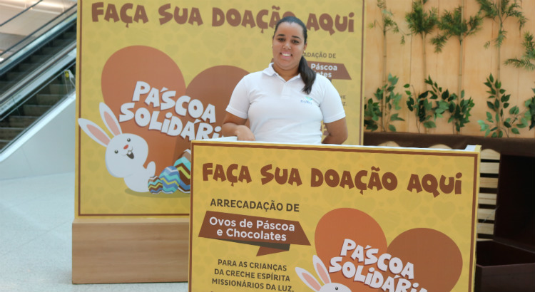 Quiosque solidário recebe doações de ovos de Páscoa e chocolates