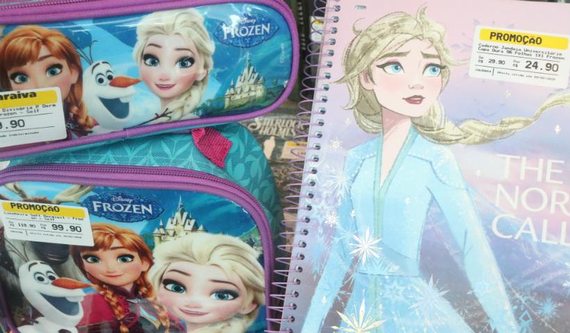 Frozen e sua turma estampam os itens de volta às aulas
