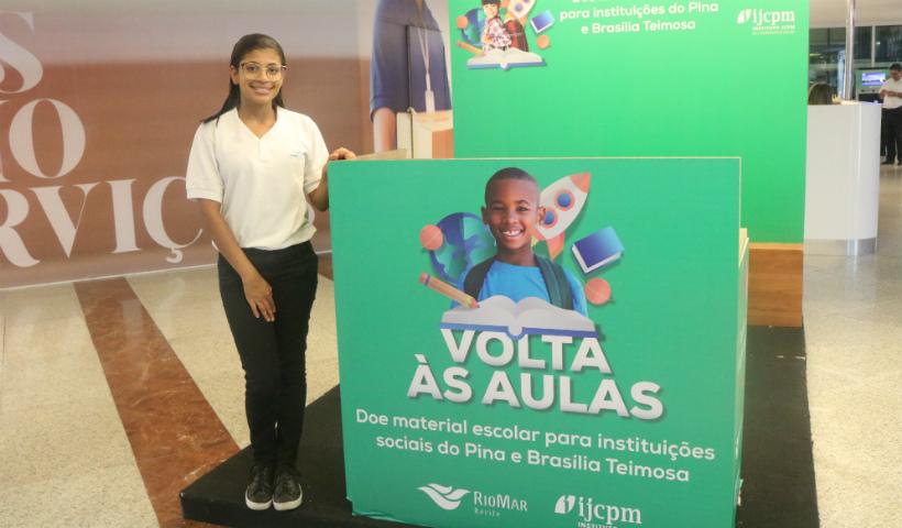 Ação solidária de volta às aulas RioMar recebe material escolar