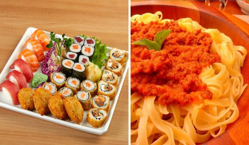 Pratos orientais ou italianos? Peça os dois com frete grátis